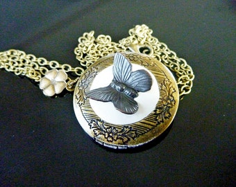 Locket , Black Butterfly with Sculpted clay on an Antiqued Brass locket - Perfect for keepsakes