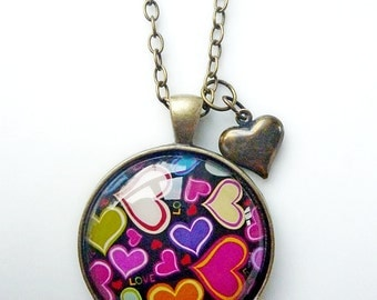 Glass Dome Funky Hearts, Retro Fun in silver or antiqued brass settings