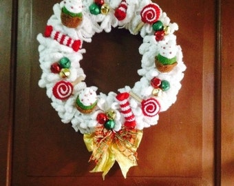INSTANT DOWNLOAD Christmas Wreath Cupcakes, Candies and Lollipops - Crochet Patterns