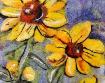 Sunflowers - felted tapestry