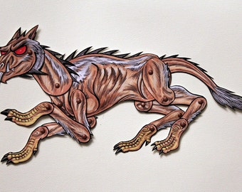 Chupacabra Articulated Paper Doll