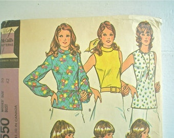 Great Blouses 1970s Sewing Pattern McCall's 3550 Vintage Sewing Pattern Bust 42
