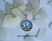 Sea glass necklace. Mermaid beach glass necklace. Blue seaglass jewelry.