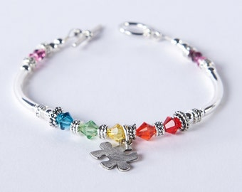 Autism Awareness Puzzle Piece Charm Bracelet with Swarovski Crystals: Autism and Aspergers Awareness // hope, courage, love, support jewelry