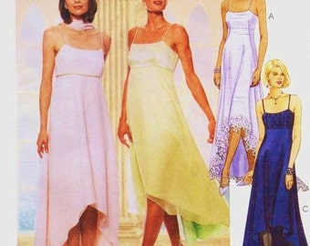 90s Womens Empire Waist Evening, Bridesmaid or Prom Dress Handkerchief Hem McCalls Sewing Pattern 9130 Size 10 12 14 Bust 32 1/2 to 36 FF