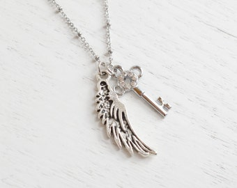 Silver Key Necklace,Skeleton Key Necklace,Angel Wing Key Charm,21st Birthday Gift,Feather Necklace,Angel Wing,Freedom,Silver Wing,Bridesmai