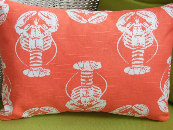 Coastal Throw Pillow COVER Coral White Lobster Decorative