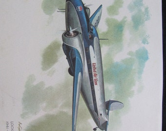 Vintage United Airlines Print Poster - Lockheed Lodestar 1941 -1942 - Galloway
