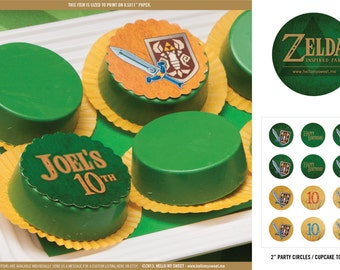 Zelda Party Circles - Printable Birthday Party Decorations - PERSONALIZED
