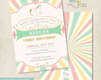 Custom Baby Shower, Wedding, Birthday Party Invitation by Mulberry Paperie - Le Carrousel