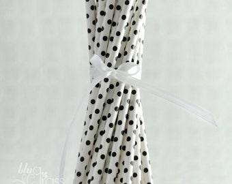 Mini Polka Dot Paper Straws - Black