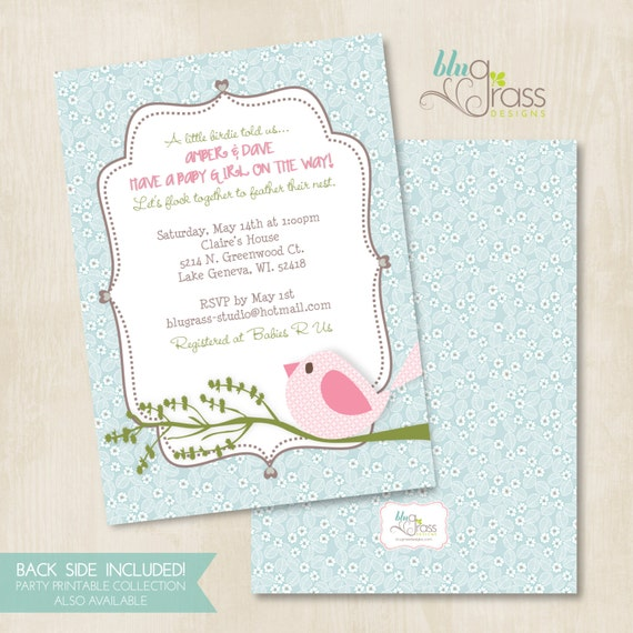 Custom Birthday Party Invitation, Baby Shower Invitation by Mulberry Paperie - Cute Birdie