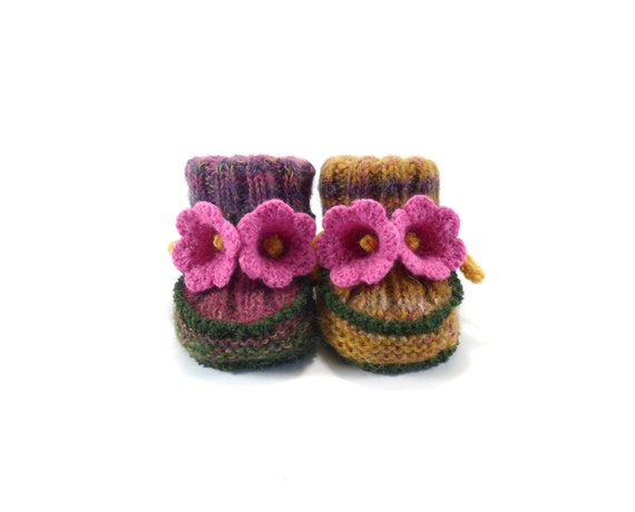 Baby Booties - Hand Knitted with Crochet Bell Flowers - Purple and Pink, 3 - 9 months