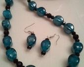 SALE - Handmade Beaded Glass Necklace - Handcrafted Glass Necklace - Teal Earrings - Teal Crystal Beads - Crystal Black Beads - Glass Beads