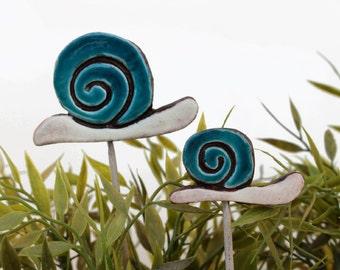 Snail garden art - plant stake - garden decor - snail ornament  - ceramic snail - small - teal