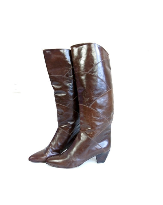vtg 80s italian fish scale sleek brown leather riding boots