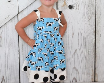 Cow Dress Girls Dress Whimsical Cows Barnyard Animals and Dots