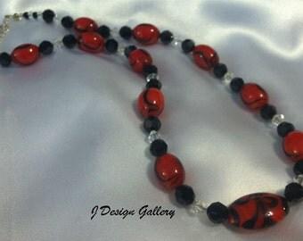 Red and Black Necklace & Swarovski Crystals