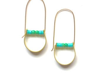 Chroma Earrings in Turquoise - Modern Primitive Hand-shaped Raw Brass with African Trade Beads