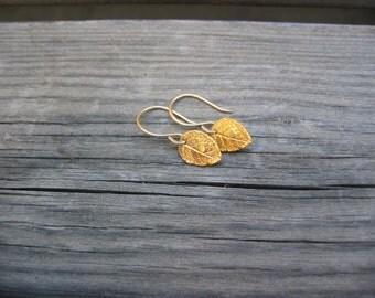 Tiny Rose Leaf Earrings in Gold  - 24K Gold Vermeil Leaf and 14K Gold Filled Earwries - Handmade Artisan Metalwork Earrings