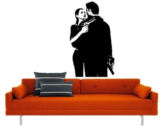 Gangsta Couple vinyl Wall DECAL- gangster mob  interior design, sticker art, room, home and business decor