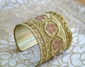 Handmade Vintage French metallic Ribbon Bracelet Cuff in Gold, Bronze, Silver and Pink floral motif, embellished w/ Swarovski crystals