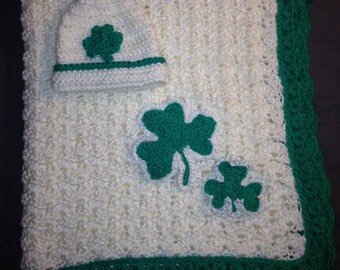 Shamrock Crib Sized Baby Blanket and Hat Set