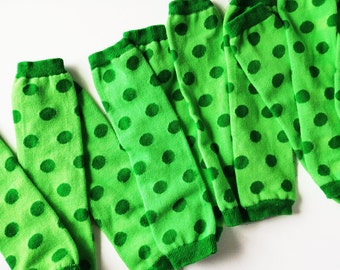 St Patrick's Day Green Baby Leg Warmers - Kelly Green and Lime Green Polka Dots, Hand Dyed for babies and kids