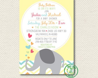 Chevron Elephant Baby Shower Invitation DIGITAL File - Print At Home - PRINTABLE