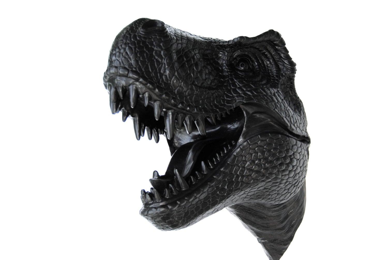 Black T Rex Dinosaur Head Wall Mount Dinosaur Faux Taxidermy
