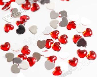 1000 - Red Flatback Acrylic Heart Rhinestones, Flatback Heart Rhinestones, 2.5mm (2-4E)