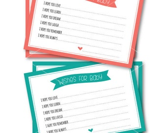 "Printable Wishes for Baby Cards / INSTANT Download / 5"" x 7"" Coral & Teal Baby Shower Cards"