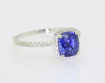 CERTIFIED  royal blue sapphire, 2.02 color of gem quality, 14K white gold engagement diamonds halo ring JOAN-935B