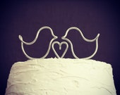 Love Birds Heart Wire Wedding Cake Topper