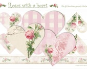 ROSES with a HEART - Digital Collage sheet -  Valentine - Printable Download - Pink