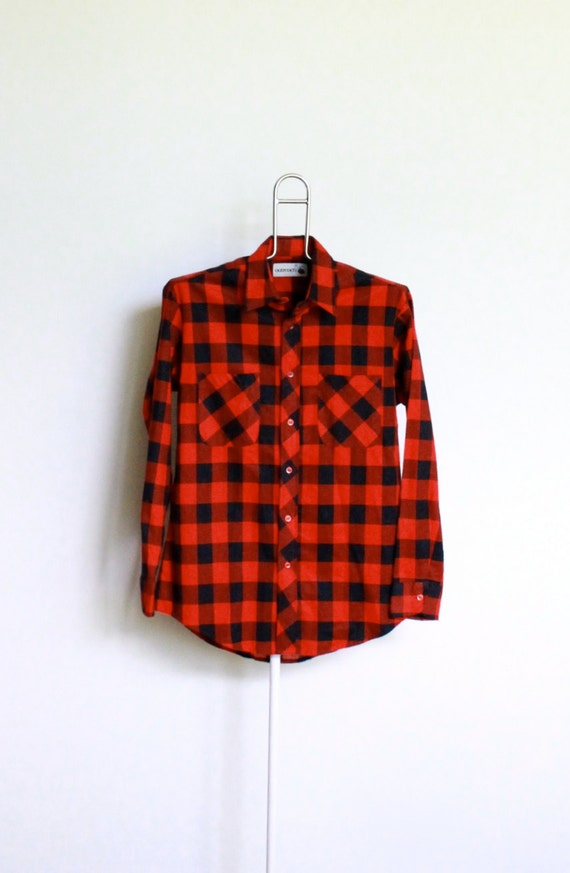 Vintage Buffalo Plaid Flannel Shirt Mens Size By