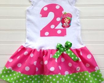 Girls Custom Dress Strawberry Dress Girls Dress Baby Toddlers Dress Pink Lime Green Girls Clothing Kids Size 6 12 18 24 Mo.Girls 2 3 4 5 6 8