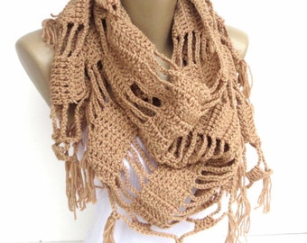 Crochet Shawl // Crochet Scarf // Winter Scarf // Gifts For Her // Womens Clothing // Shawl Wrap // Shawl Scarf /// senoaccessory