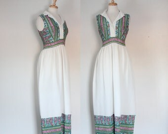 60s Polyester Maxi Dress / 60s Hostess Dress