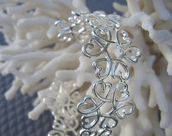 Airy Floral Spring and Summer Silver Cuff Bracelet
