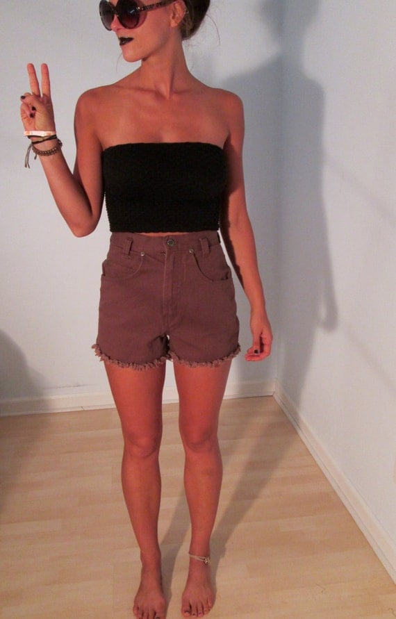 High Waist Chocolate Brown Shorts XS S 2 3 Jean Cutoffs