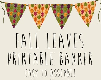 Fall Leaves Autumn Party Banner, Printable PDFs, Instant Download, Thanksgiving
