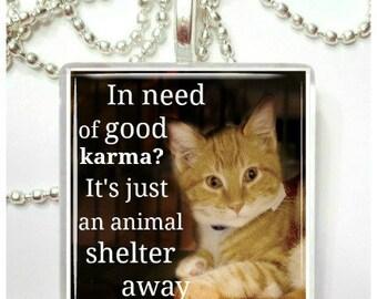 In need of good karma glass pendant