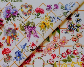 American School Of Needlework 50 FLORAL Designs By SAM HAWKINS - Counted Cross Stitch Pattern Chart Booklet