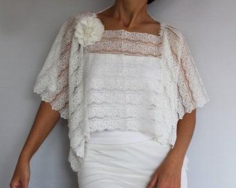 Weddings Dress Top Wear In Ivory Lace, Plus Size Bridal Shrug. Handmade  Poncho. Unique Design