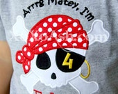 Boys Pirate Birthday Shirt-Arrrg matey I'm 4--Any number or age--Embroidered shirt or Bodysuit