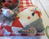 """HEART Cutter Quilt Pin Cushion Up cycled chicken nest """"Farm Chick"""""""