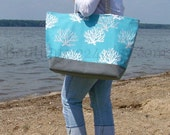 "EXtra Large Beach Bag - Blue Coral & Gray - ""Family Size"" Canvas Tote Bag"
