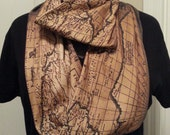 Antique Map KNIT scarf -  Infinity or Regular style - made to order