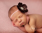 Baby Pink and Brown Headband..Baby Flower Headband..Baby Girl Flower Headband..Pink and Brown Headband..Newborn Pink and  Brown Headband